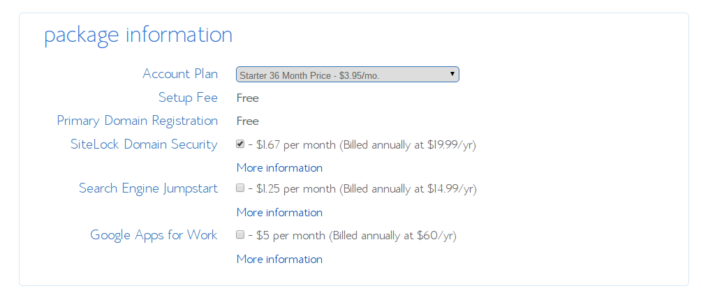 Choose a bluehost package