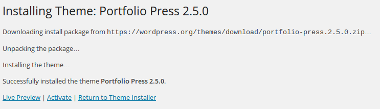 wordpress theme install complete